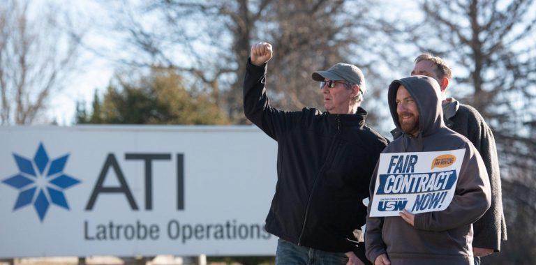 United Steelworkers members strike outside a metal supplier in Westmoreland County.