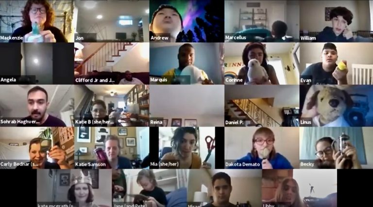 A screenshot shows the participants in the final class of the spring session of Theatre Horizon's Autism Drama Program