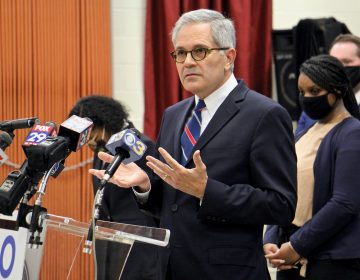 Philadelphia District Attorney Larry Krasner speaks during a press conference