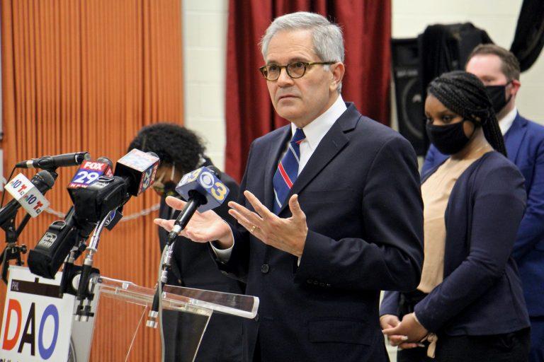 Philadelphia District Attorney Larry Krasner speaks during a press conference