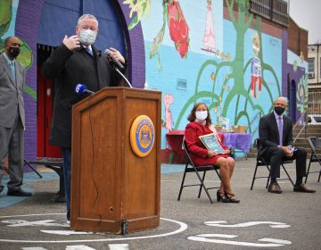 Philadelphia Mayor Jim Kenney announces the launch of Safe Routes Philly, the city's bicycle and pedestrian safety education program, at William Cramp School on April 12, 2021. (Emma Lee/WHYY)