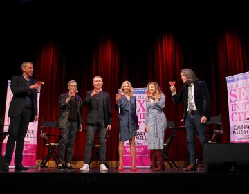 Bucks County Playhouse toasts the debut of Candace Bushnell's one-woman show, 'Is There Still Sex in the City?' which will run at the theater in New Hope from June 22 through July 18. Pictured are (from left) Alex Frasier, Robyn Goodman, Marc Johnston, Candace Bushnell, Lorin Latarro, and Josh Fiedler. (Emma Lee/WHYY)