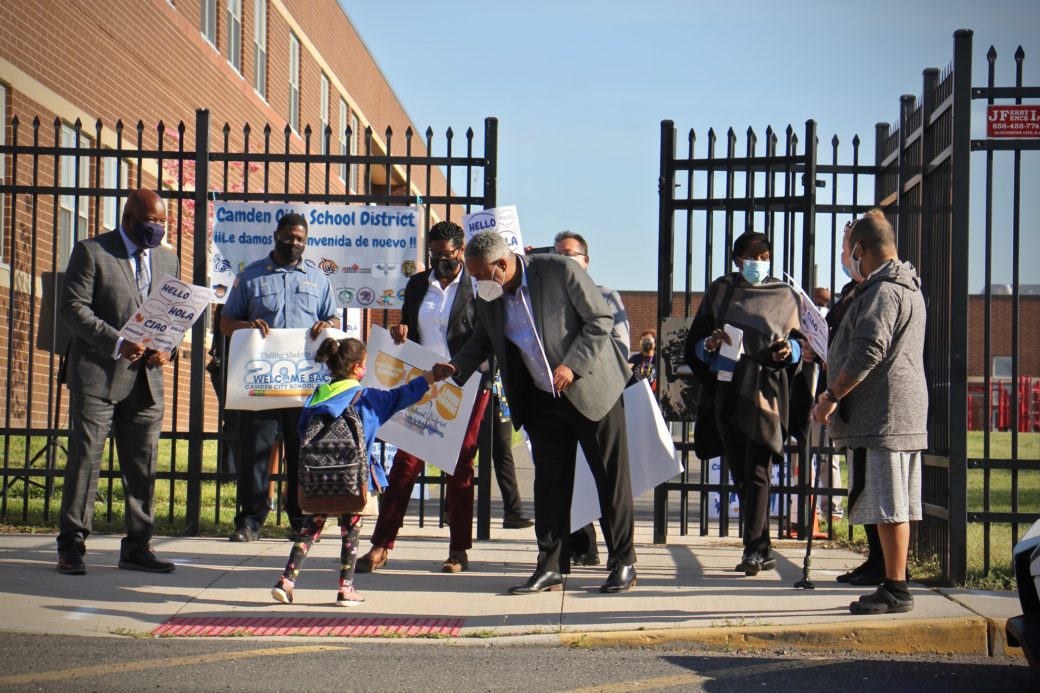 Students arriving at H.B. Wilson Elementary School