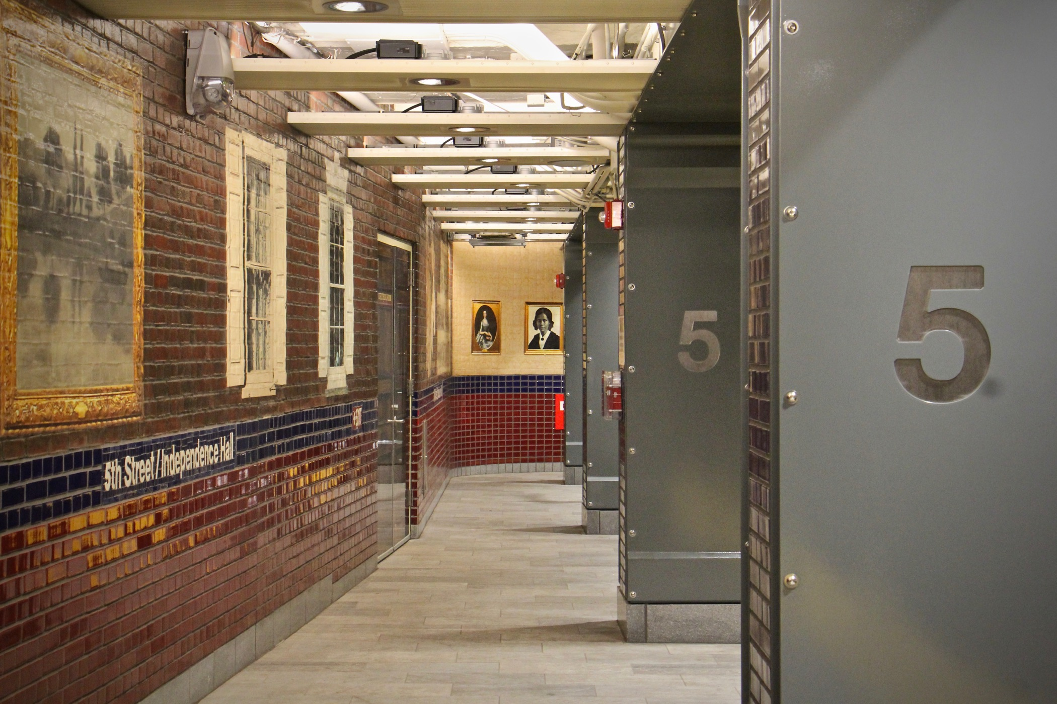 The 5th Street/Independence Hall SEPTA Station on the Market-Frankford Line is newly renovated and decorated with artworks by Philadelphia artist Tom Judd. (Emma Lee/WHYY)