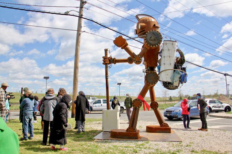 15-foot-tall robot sculpture installed at North Camden's Cramer Hill Neighborhood