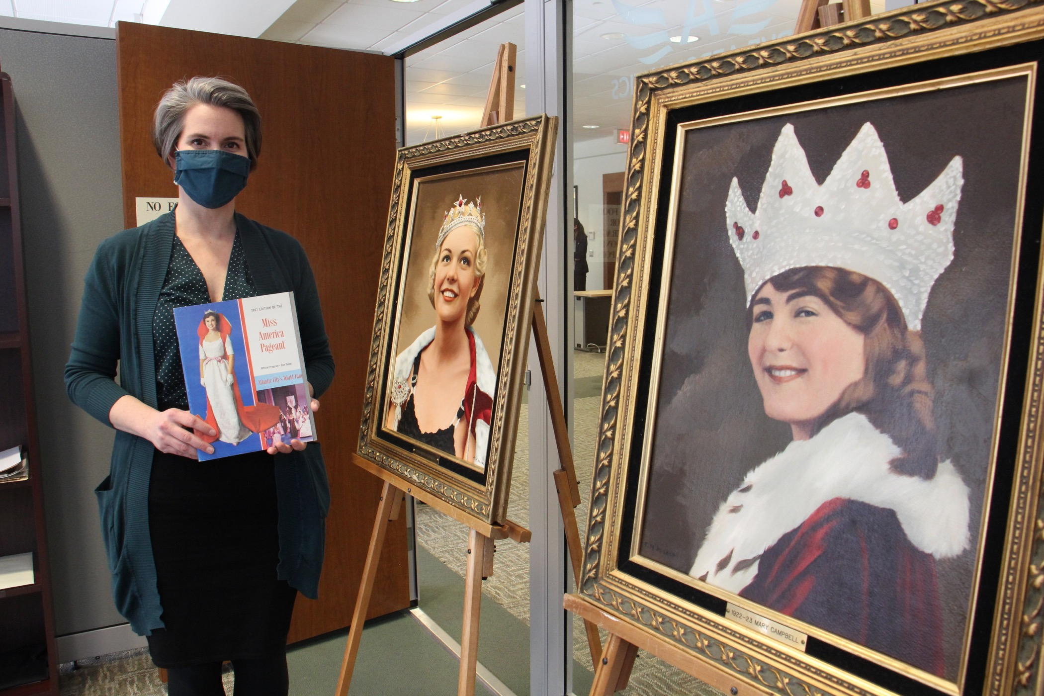 Dr. Katherine Turner stands among items tied to the Miss America Organization