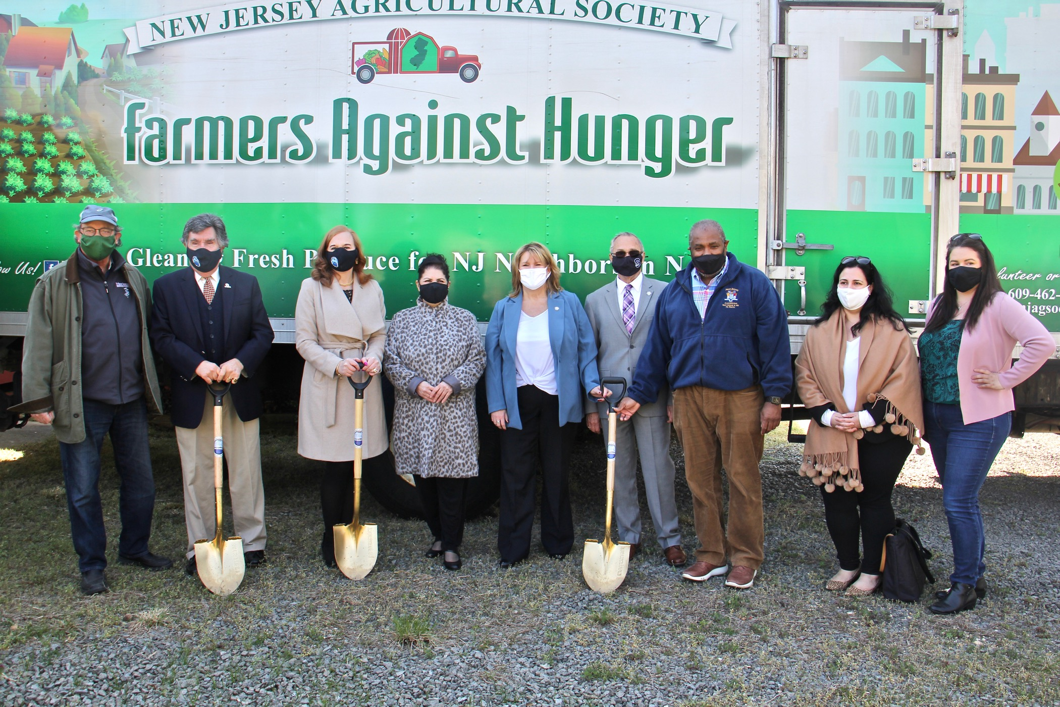 State and local officials celebrate the groundbreaking for the Farmersa Against Hunger  Laurel Run Land Stewardship Center in Delran, N.J. (Emma Lee/WHYY)