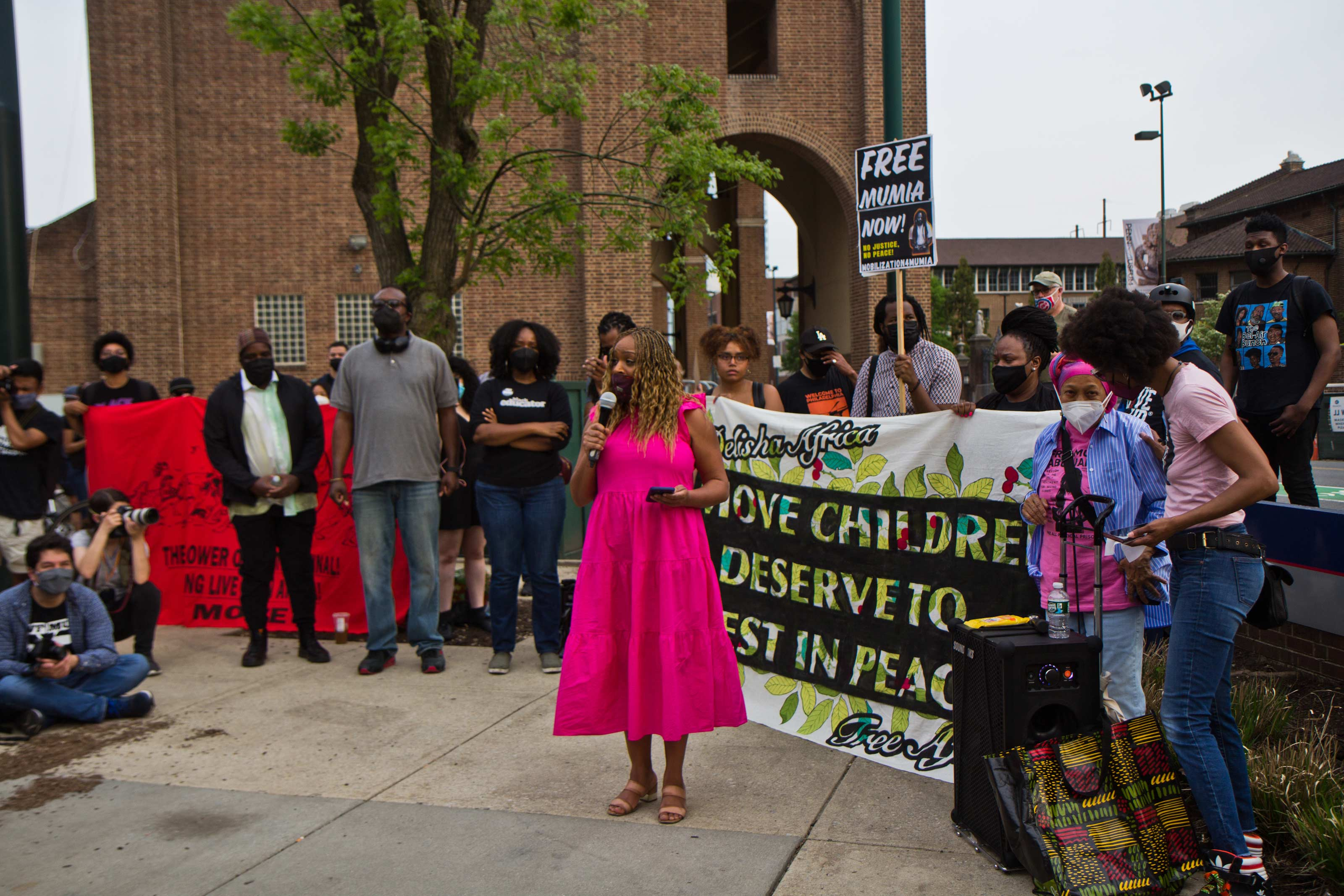 Councilmember Jamie Gauthier joined protesters outside the Penn Museum on April 28, 2021. (Kimberly Paynter/WHYY)