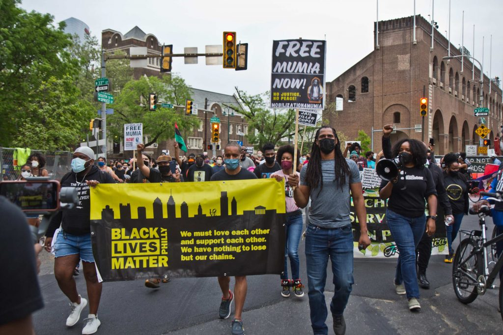 Protesters march on the University of Pennsylvania's campus