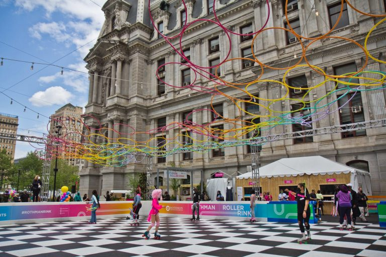 The Rothman Orthopaedics Roller Rink at Dilworth Plaza welcomed its first skaters on April 30, 2021. (Kimberly Paynter/WHYY)