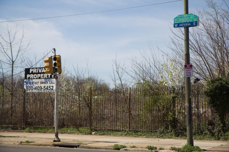 6901 Elmwood Avenue in Philadelphia's Eastwick neighborhood is the proposed site of an Amazon warehouse. (Kimberly Paynter/WHYY)