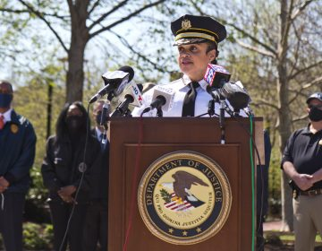 Philadelphia Police Commissioner Danielle Outlaw addresses the press