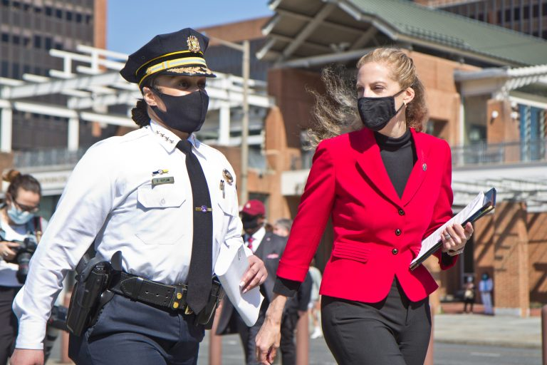 Philadelphia Police Commissioner Danielle Outlaw (left) and Acting U.S. Attorney for the Eastern District of Pennsylvania Jennifer Arbiter Williams (right) announced that multiple law enforcement agencies would be working together in Philadelphia to arrest and prosecute gun violence offenders on Thursday, April 8, 2021. (Kimberly Paynter/WHYY)