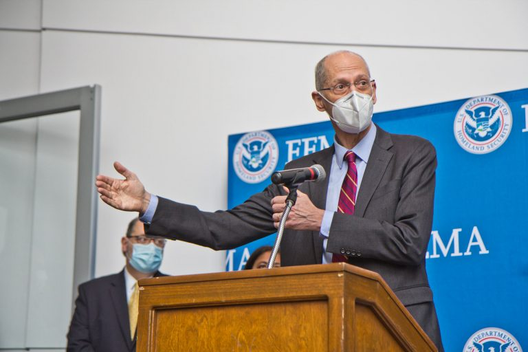 Philadelphia Health Commissioner Dr. Thomas Farley speaks at a press conference ahead of the opening of the Esperanza Community Vaccination Center in North Philadelphia on April 9, 2021. (Kimberly Paynter/WHYY)
