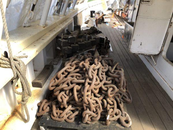 Anchor chains on the Gazela.