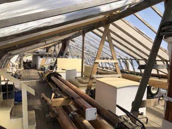 Gazela's masts waiting to be put back to use.