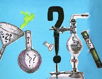 Illustration of beakers and laboratory science equipment with question marks