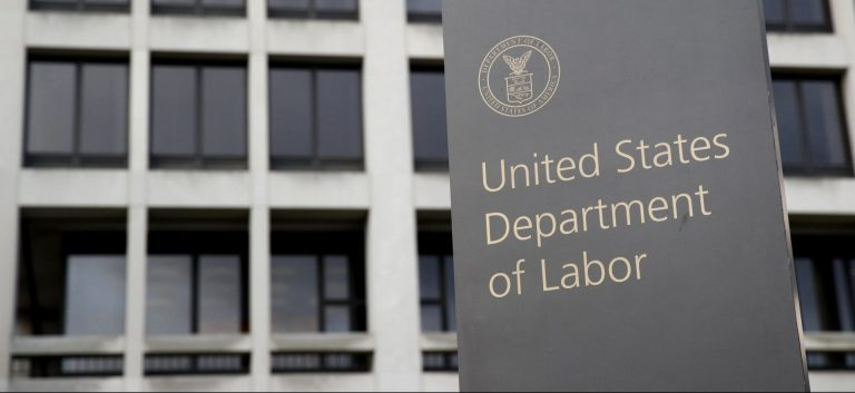 In this May 6, 2020 photo, a sign stands outside the Department of Labor's headquarters in Washington.