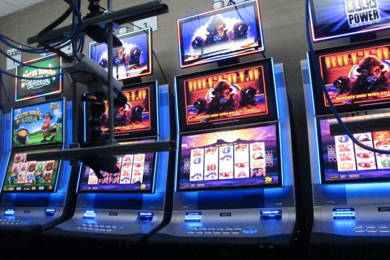 This Feb. 10, 2020 photo shows slot machines at the Hard Rock casino in Atlantic City,N.J. that are controlled by gamblers over the internet. (AP Photo/Wayne Parry)