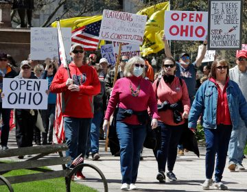 People protesting the stay home order in Ohio