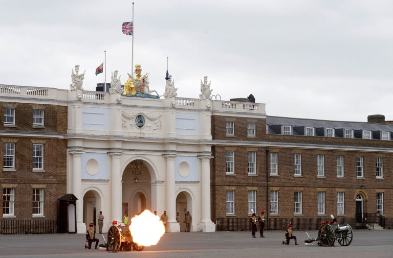Soldiers of the Royal Horse Artillery fire a ceremonial gun during the 41 Death Gun salute in memory of Prince Philip at the Royal Artillery barracks in Woolwich, London, Saturday, April 10, 2021. (AP Photo/Alastair Grant, Pool)