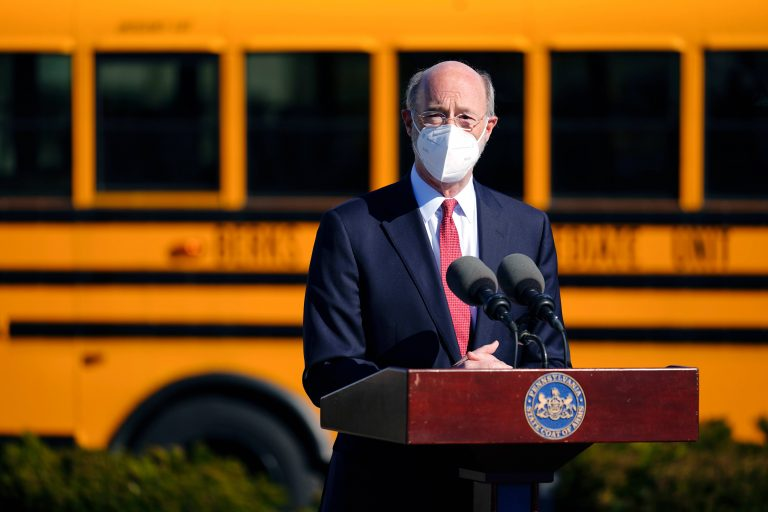 In this March 15, 2021 file photo, Gov. Tom Wolf speaks at a COVID-19 vaccination site setup at the Berks County Intermediate Unit in Reading, Pa. (AP Photo/Matt Rourke)