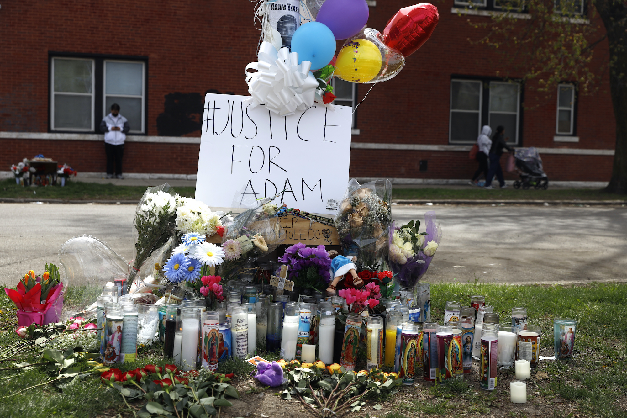 A memorial near the spot where 13-year-old Adam Toledo was shot by a police officer in Chicago's Little Village neighborhood