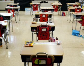 Desks are arranged in a classroom at Panther Valley Elementary School