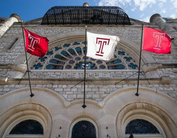 Flags wave in the wind from a building on the at Temple University campus in Philadelphia, Tuesday, Oct. 10, 2017. (AP Photo/Matt Rourke)