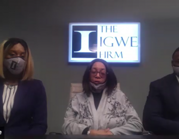 Tyneka Cephas (center) spoke out for the first time about the sexual assault she endured from a uniformed Wilmington police officer. She's suing the city over the incident. (Zoom screengrab)