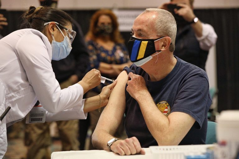 Gov. Murphy receiving his COVID-19 vaccine on Friday, April 9, 2021. (Gov. office)