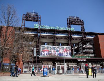 Phillies fans arrive for opening day at Citizens Bank Park on April 1, 2021. (Kimberly Paynter/WHYY)