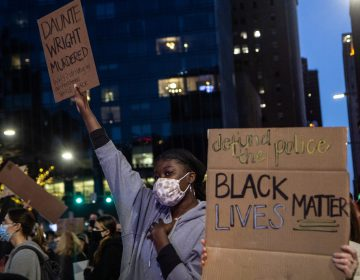 Protesters demanding justice for Daunte Wright, a 20-year-old Black man killed by police near Minneapolis marched through Center City, Philadelphia on April 13, 2021. (Kimberly Paynter/WHYY)