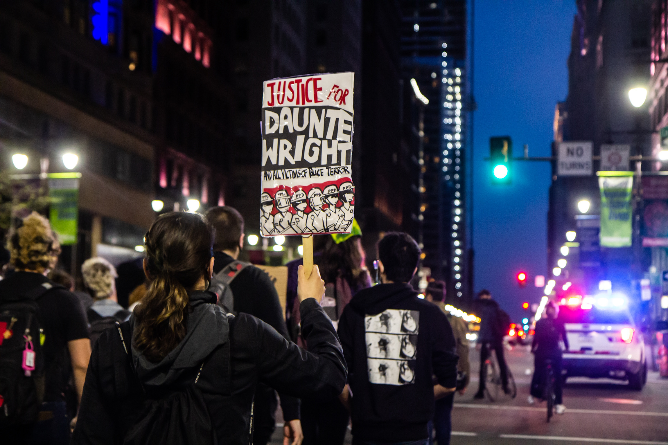 Protesters demanding justice for Daunte Wright, a 20-year-old Black man killed by police outside Minneapolis marched through Center City Philadelphia on April 13, 2021. (Kimberly Paynter/WHYY)