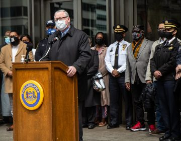 Philadelphia Mayor Jim Kenney was joined by community leaders, police leadership, business owners and faith leaders to announce resources and planning in advance of the verdict in the murder trial of Derek Chauvin. (Kimberly Paynter/WHYY)