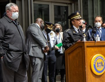 Philadelphia Police Commissioner Danielle Outlaw joined Mayor Jim Kenney and other city leaders to announce plans and resources available in advance of the verdict in the murder trial of Derek Chauvin. (Kimberly Paynter/WHYY)