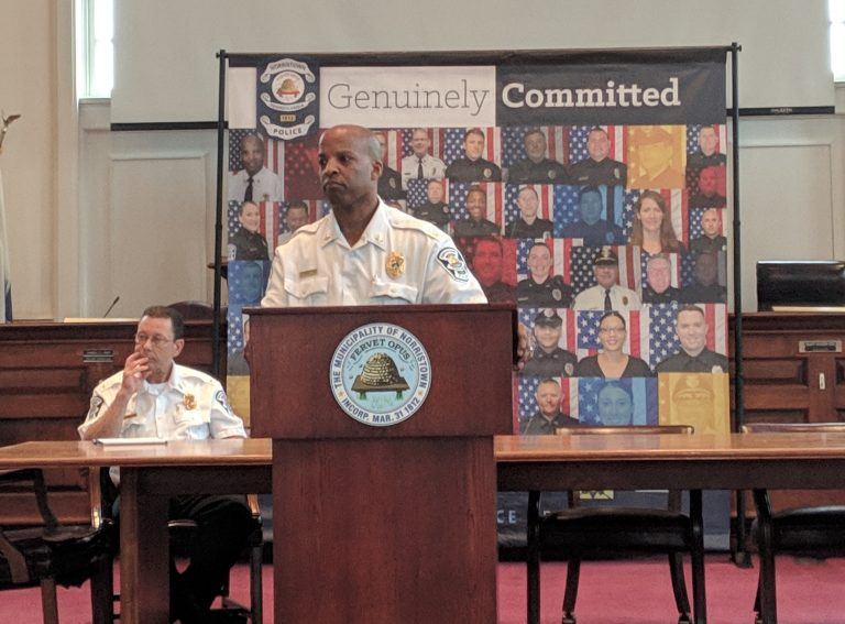 Norristown Police Chief Mark Talbot addressed 50 community members Sunday after a melee between about 50 to 100 minors and police officers at a church fair the night before. Video of the incident shows one officer putting a young girl in a chokehold. (Katie Colaneri/WHYY)