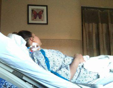 Rebeca Cruz-Esteves at Jefferson Abington, where she's been hospitalized in the neurology unit for the past week. (Courtesy of Rebeca Cruz-Esteves)