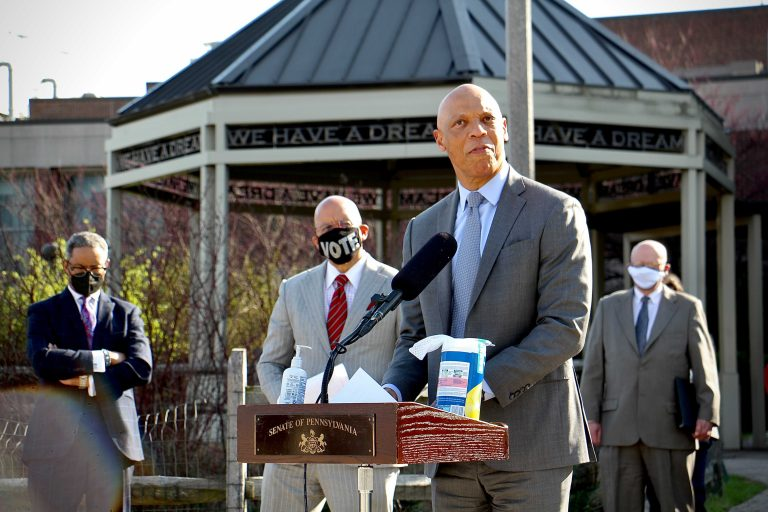 Philadelphia schools Superintendent William Hite calls for equitable school funding during a press conference at Martin Luther King High School. He was joined by District Attorney Larry Krasner, Philadelphia Mayor Jim Kenney, State Senator Vincent Hughes and other officials calling for the adoption of Gov. Tom Wolf's proposed fair school funding formula. (Emma Lee/WHYY)