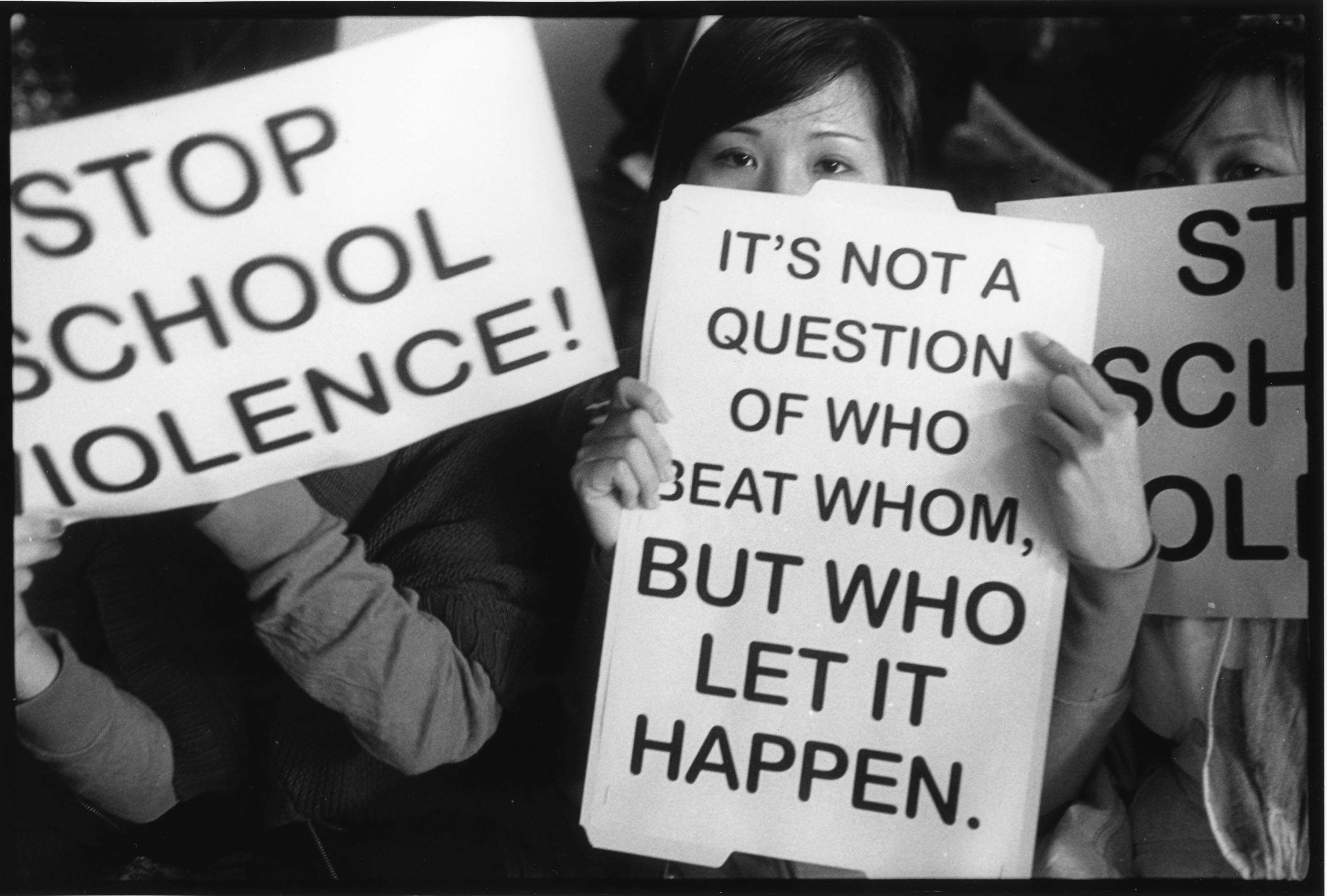 Students protesting in the wake of anti-Asian attacks at South Philadelphia High School in 2009. (Courtesy of Harvey Finkle)
