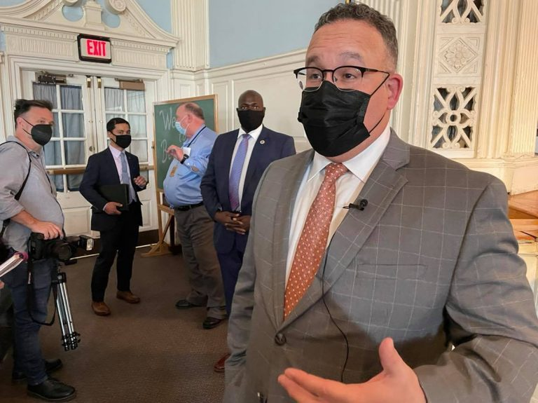 Secretary of Education Miguel Cardona visited Philadelphia on April 6, 2021. (Johann Calhoun/Chalkbeat Philadelphia)