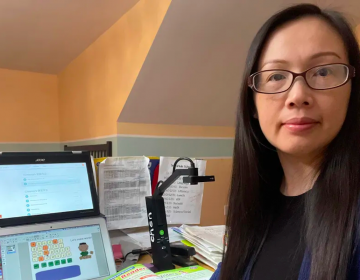 Shuxin Chen, who teachers English language learners at McCall elementary school, has had to adjust to teaching her students over a laptop from her home. (Shuxin Chen)
