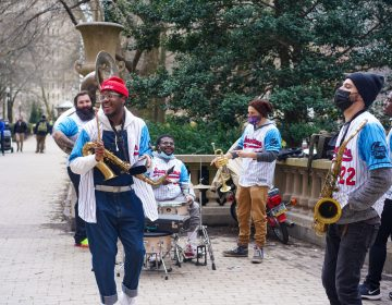 SnackTime, a Philadelphia 10-man brass band playing in Rittenhouse Park. (Photo Courtesy of SnackTime)
