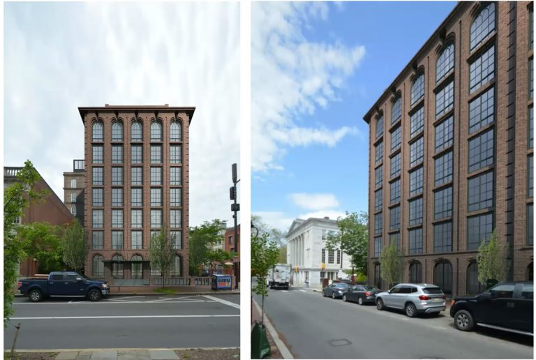 A rendering of the proposed Third and Walnut St. hotel approved by the Philadelphia Historical Commission. (Ambit architecture)