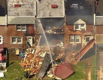 The scene of an apparent explosion at a Tacony home.