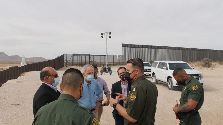 U.S. Sen. Tom Carper (in blue) of Delaware talks with members U.S. Border Patrol near El Paso, Texas. (courtesy Carper's office)