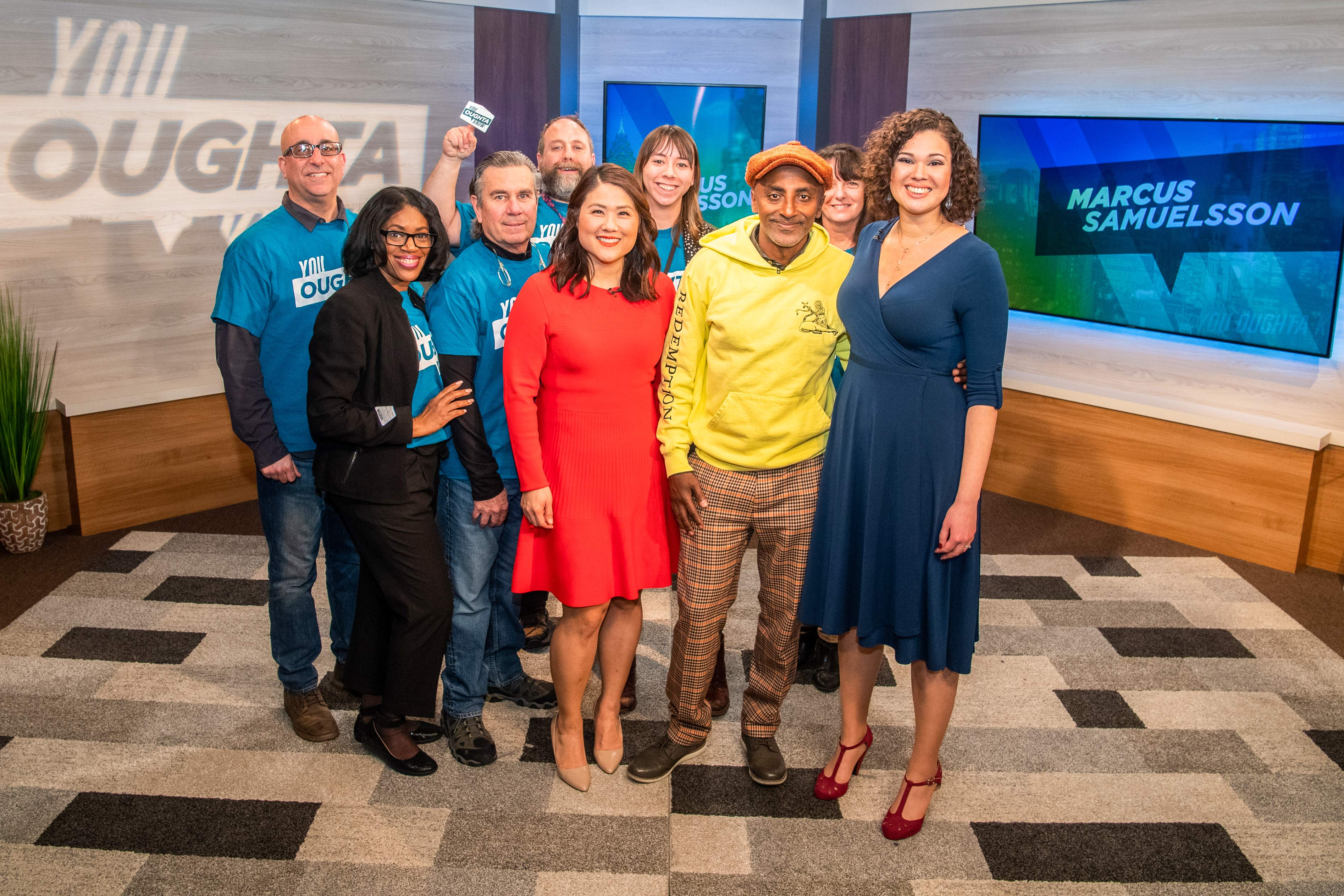 Marcus Samuelsson with You Oughta Know hosts Regina Mitchell and Shirley Min