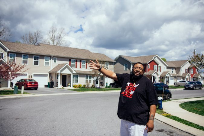 Jonathan Pretlow points out differences in some of the townhomes