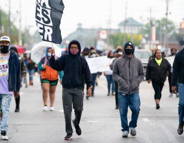 Protesters march last week in Elizabeth City