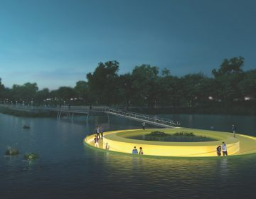 A rendering of FloatLab on the Schuylkill River